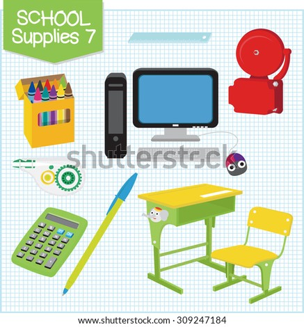 A picture of school supplies isolated in white. - stock vector