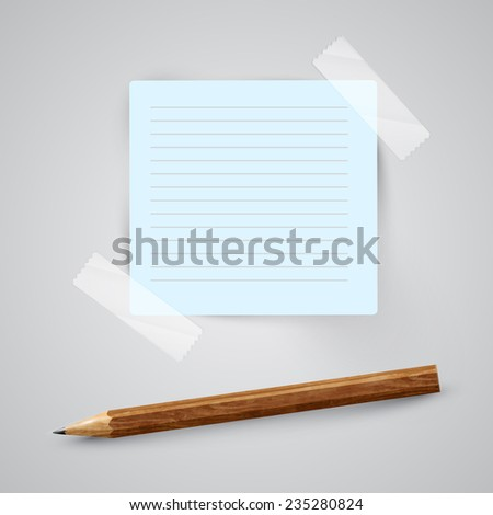 A piece of paper with a pencil, vector - stock vector