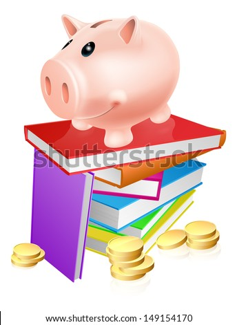 A piggy bank standing on a stack of books and surrounded by coins. Concept for eduction savings or other literacy related budget theme - stock vector
