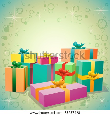 A Pile of Gift Boxes - stock vector