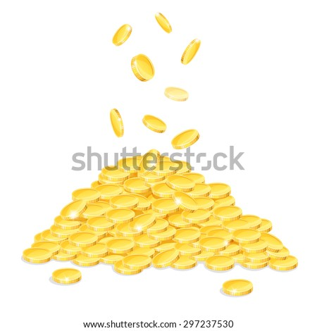 A pile of gold coins on a white background. Eps10. - stock vector