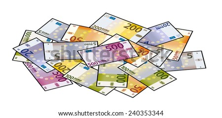 A pile of stylized iconic colourful Euro bank notes / paper money. - stock vector