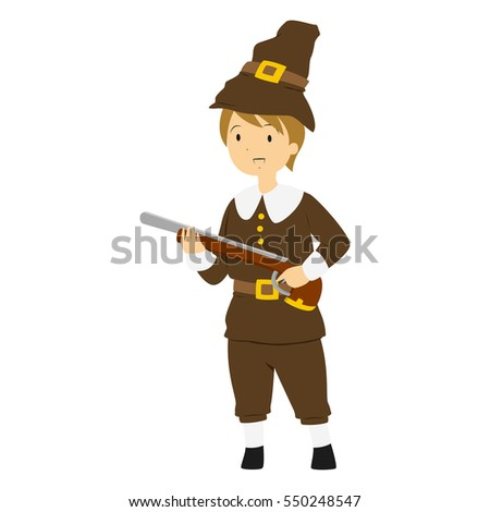 A Pilgrim boy carrying a hunting rifle. Thanksgiving illustration vector.