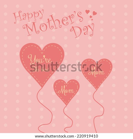 a pink background with heart shaped balloons for mother's day