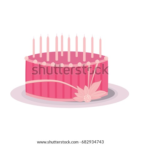 A pink cake with stripes and unlit birthday candles