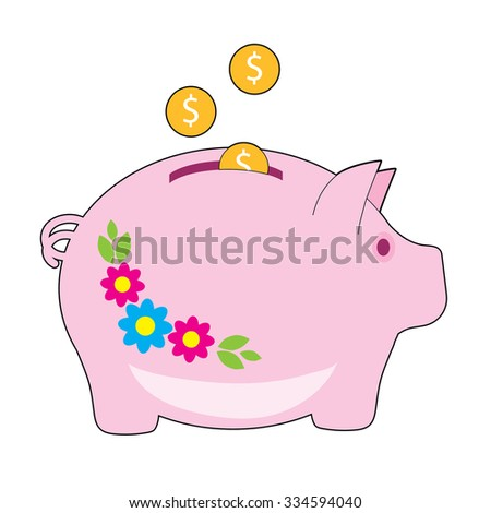 A pink piggy bank with flowers on it. Coins are being added to it - stock vector