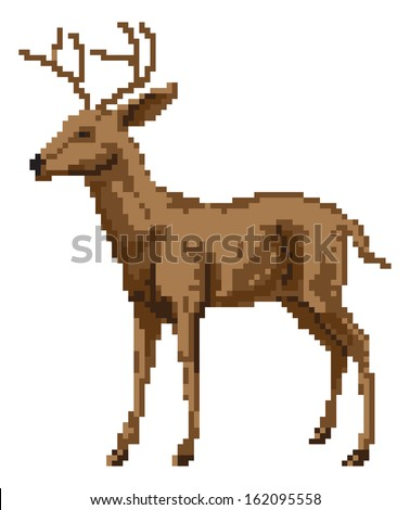 A pixel art style deer illustration of a buck or stag - stock vector