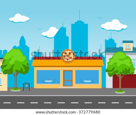 A pizza cafe in a big city street with tables in the windows - stock vector