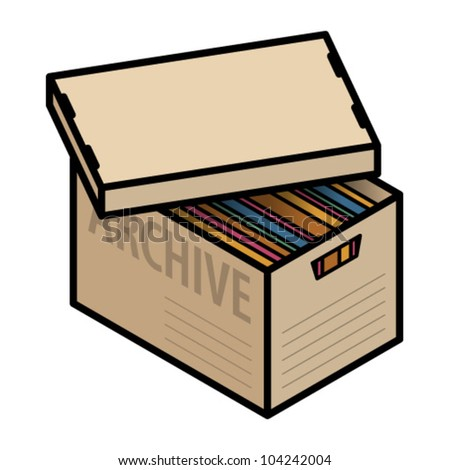 A plain cardboard archive box with lid half off and showing multicolor folders/files.