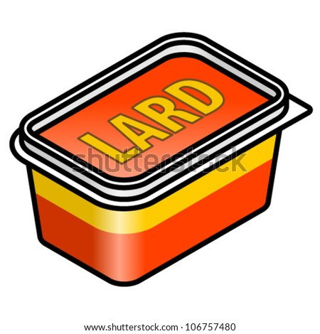 A plastic tub of animal lard/dripping for deep frying and baking. - stock vector