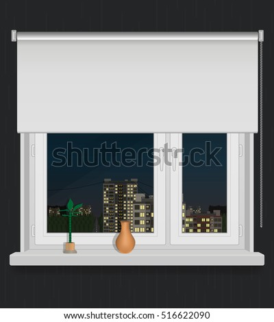 A Plastic Window With View On City Night