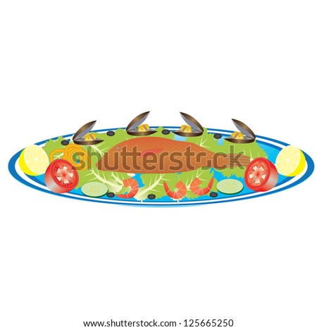 A Platter of Fish,Prawns,Mussels,Squid Rings,Lemon,Tomatoes and Salad - stock vector