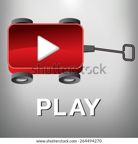 A Play Movie Button that is also a Little Red Wagon - stock vector