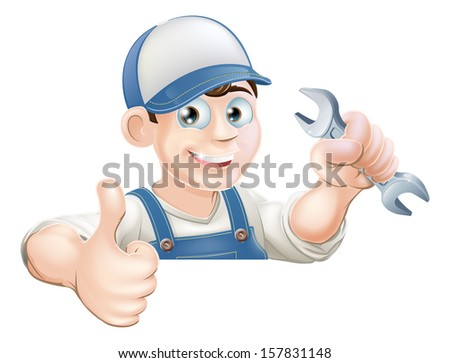 A plumber or mechanic holding a wrench or spanner and giving a thumbs up while peeking over a sign or banner - stock vector