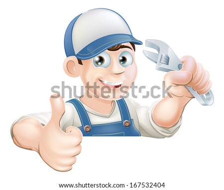 A plumber or mechanic holding an adjustable wrench or spanner and giving a thumbs up while peeking over a sign or banner - stock vector