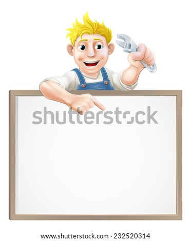 A plumber or mechanic holding an adjustable wrench or spanner  and peeking over a sign and pointing - stock vector