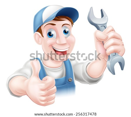 A plumber or mechanic in hat and overalls holding a spanner and giving a thumbs up - stock vector