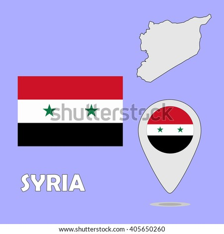 A pointer map and flag of Syria - stock vector