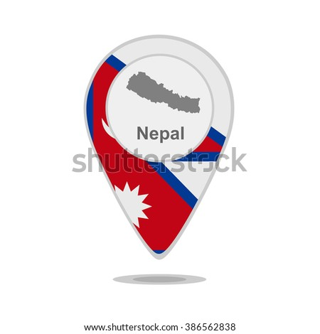 A pointer with map and flag of Nepal