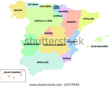 a political map of Spain showing the different regions - stock vector