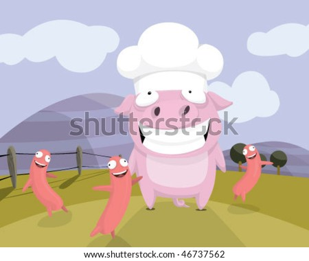 A pork and sausages. - stock vector