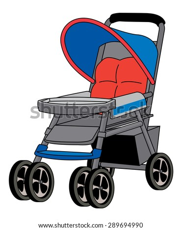 a portable four wheeled brightly colored baby stroller - stock vector