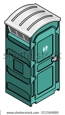 A portable toilet for outdoor events and construction sites.  - stock vector