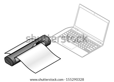 A portable USB document/receipt/bu siness card scanner connected to a laptop. - stock vector