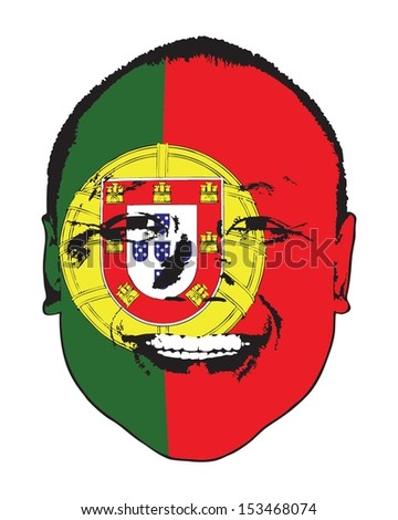 A Portugal flag on a face, isolated against white.  - stock vector