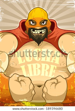 A poster with the wrestler  Lucha Libre in retro style  - stock vector
