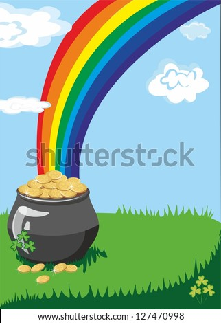 A pot of gold at the end of the rainbow with a colorful background and a place for text or imagery - stock vector