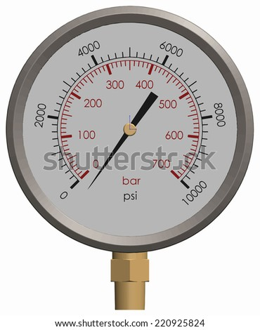 A Pressure Gauge with a Separate Needle to Drop on the Gauge - stock vector
