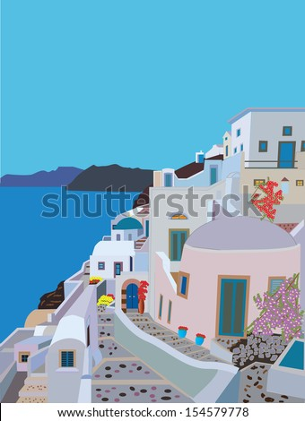 A Pretty Traditional Greek Village with winding streets a Church and flowers by the sea - stock vector