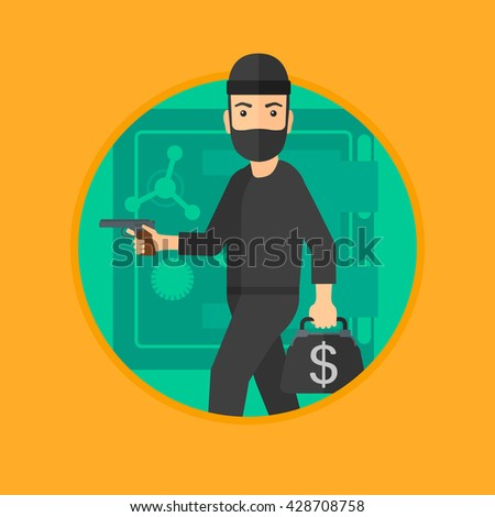 A professional burglar in mask near the big safe door. Burglar holding hand gun and a bag with dollar sign. Thief stealing money. Vector flat design illustration in the circle isolated on background. - stock vector