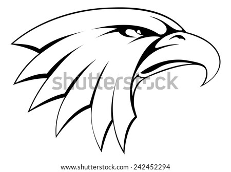A proud powerful looking bald eagle head icon  - stock vector