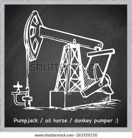 A pumpjack is the overground drive for a reciprocating piston pump in an oil well. EPS10 vector illustration in a sketchy style imitating scribbling on the blackboard. - stock vector
