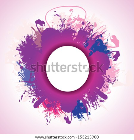 a purple and blue ink splash background - stock vector