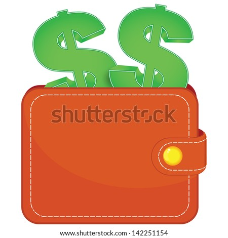 A purse with a dollars signs - stock vector