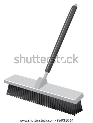 A push broom! Such as you would see in a warehouse. Icon style. - stock vector