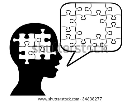 A puzzled silhouette person says a solution in jigsaw puzzle pieces in speech bubble copyspace. - stock vector