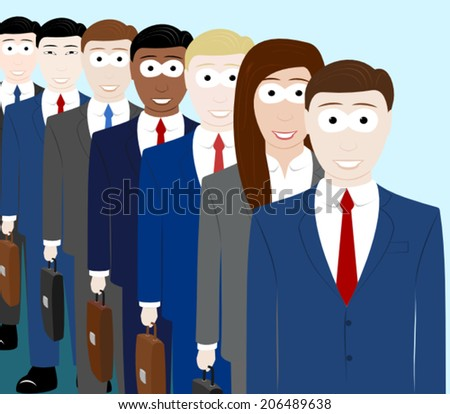 A queue of smiling office workers - stock vector