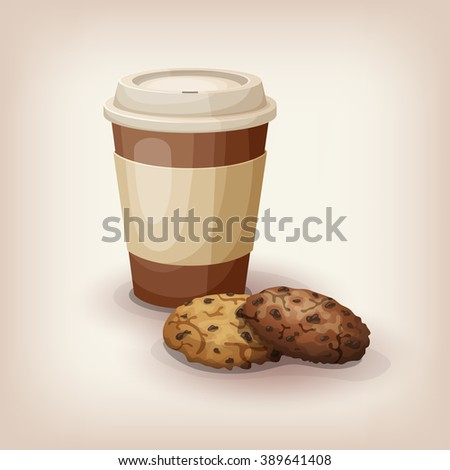 A quick snack to go. Disposable cup of coffee and tradition chocolate chip cookies. Cartoon style icon. Restaurant menu illustration.