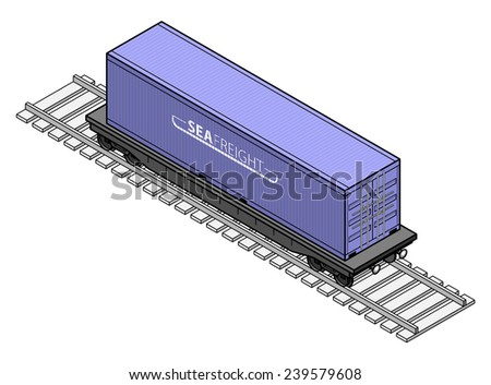 A rail freight car with a large blue shipping container. - stock vector