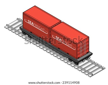A rail freight car with two shipping containers. - stock vector