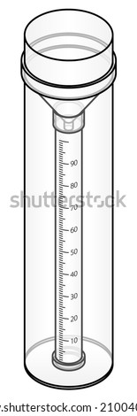 A rain gauge (nilometer hygrometry pluviometer udometer.) - stock vector