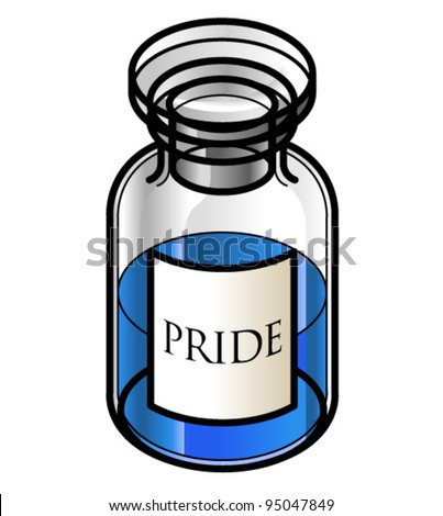 A reagent bottle of Pride. Concept: Seven Deadly Sins. Collect the whole set!