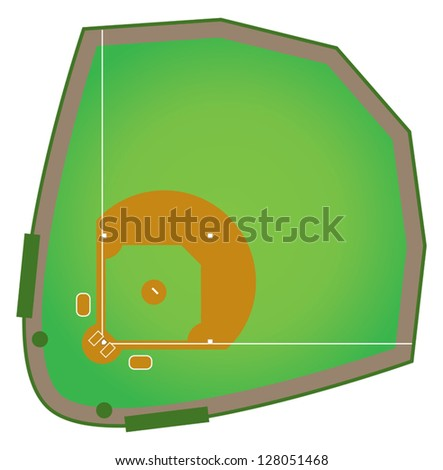 A realistic baseball diamond that would be found in all levels of college and pro baseball. - stock vector