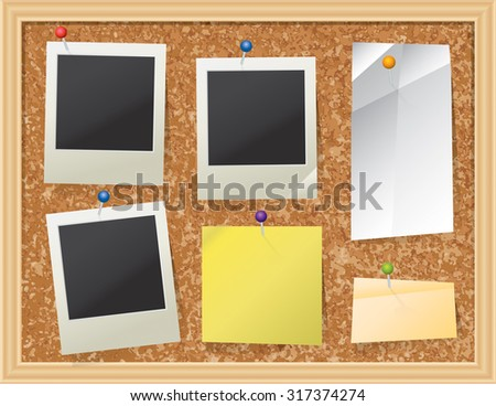 A realistic cork bulletin board with pinned pieces of paper and photos. Vector EPS 10. EPS contains transparencies. - stock vector