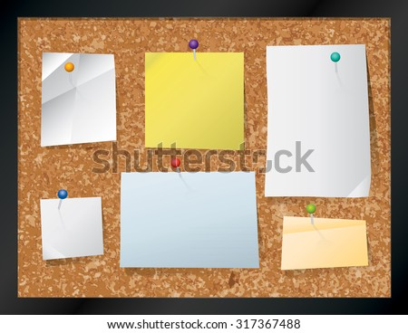 A realistic cork bulletin board with pinned pieces of paper. EPS contains transparencies. - stock vector