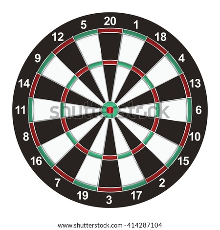 A realistic dart board isolated on a white background illustration. Vector EPS available.